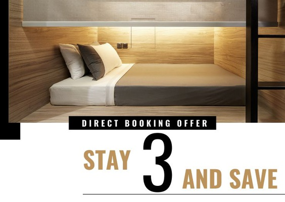 3 nights minimum stay (direct booking offer) the pod boutique capsule hotel  singapore